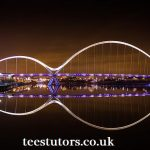 Image showing the River Tees spanned by the Infinity Bridge with the teestutors for private tuition logo