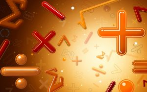 Image showing Maths symbols on a bright background to symbolise private tuition session