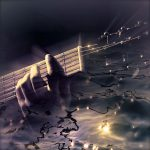Image showing a guitar player superimposed on a water scene